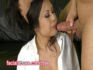 Busty Asian Throated By Two Men