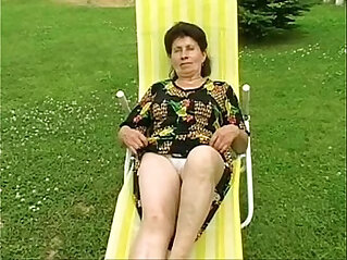 Granny Marie gets her cunt fucked hard by the pool