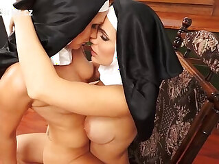 Catholic erotica lesbian sex with two sexy nuns