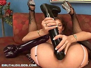 Busty japanese babe Felony fills her pussy with monster dildo