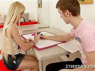 Horny and sexy blonde teen slut