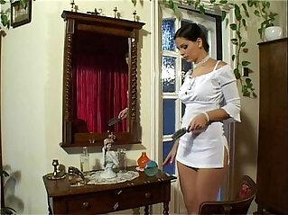 master: Eve Angel in Short White Dress Masterbates