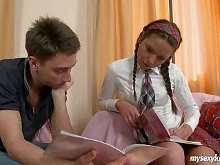 .Sexy schoolgirl Zufia gives head and gets facialized